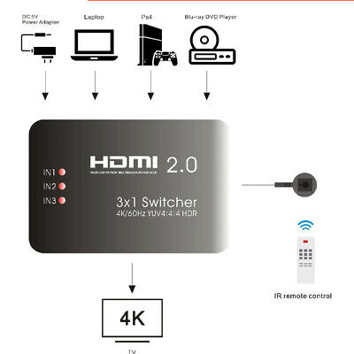 AYS-31V20 HDMI Switcher 3 x 1 with IR Remote Support 4K Splitter For HD TV's