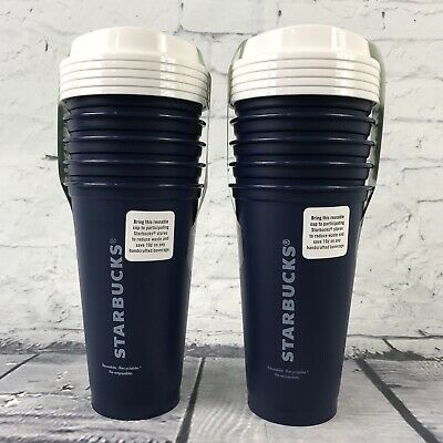 Starbucks Reusable Navy Blue 16oz Coffee Cups Tumblers - 10 pack