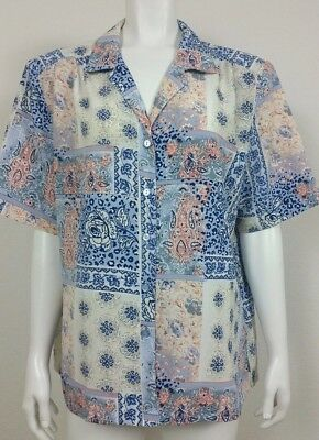 a81a6313121ae Donnkenny Classics Womens Top Size XL Floral Button Front Short Sleeve  Casual
