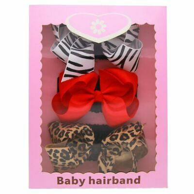 Children Toddle Baby Girls Leopard Hairbands Bow Knot Headband Sets Gift Box
