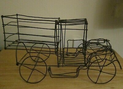 """Antique Truck Twisted Wire Hand Crafted Primitive Folk Art Handmade 12.5"""" Rare!"""