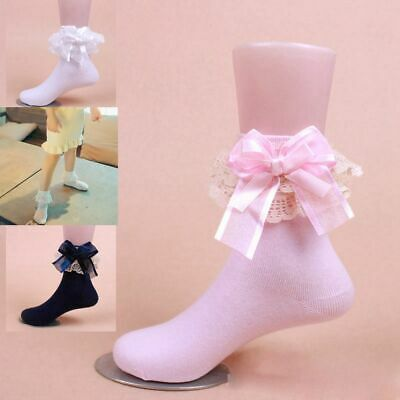 Cute Ankle Short Baby Girls Lace Frilly Ruffle Princess Socks Big Bow Cotton