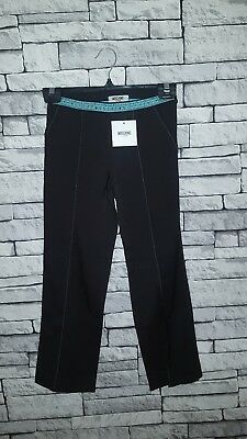 Age 8-9 Year Old Girls BNWT Moschino (34) Black Tape Waistband Trousers RRP £54