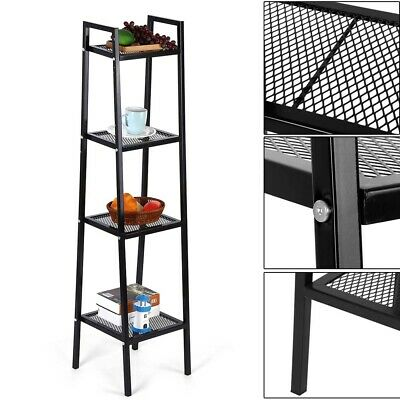 4 Tier Metal Ladder Shelf Corner Shelves Bookcase Plant Flower Shelving Units UK