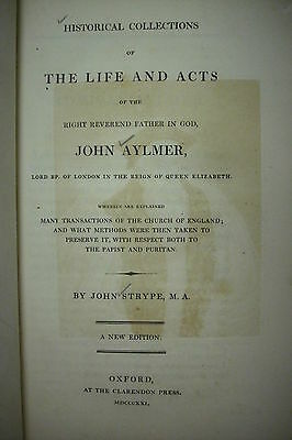RARE! 1821 LIFE AND ACTS OF JOHN AYLMER *Church of England*Queen Elizabeth