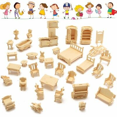 34 Pcs Wooden Miniature Dollhouse Furniture Model Unpainted Suite Toys 3D DIY