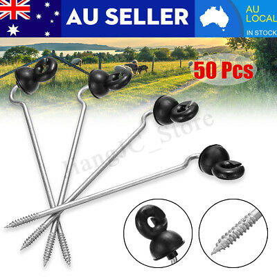 50PCS Screw In Offset Electric Fence Post Insulators Wood Timber Tape Cord Wire