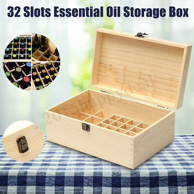 32 Slots Essential Oils Wooden Box Solid Pine Pure Wood Storage Box Natural
