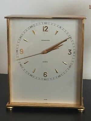 "Wonderful Vintage ""GARRARD"" Auto Swiss Quartz Move Brass Gold Trim Mantel Clock"