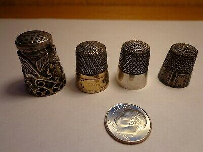 Vintage lot of 4 Sterling Silver Sewing Thimbles--1 Mexico 3 Other Brands-21.5GR