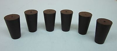 NEW Solid #000 laboratory rubber stoppers black EPDM/SBR tapered plug (12)