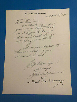 Fred Mc Murray / June Haver Autographed Letter Signed April 5, 1990