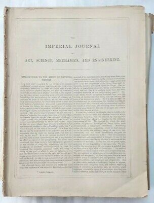Rare Antique 1850 'the Imperial Journal Of Art, Science Mechanics & Engineering'