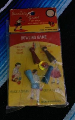 vintage bowling set toy game toy hong kong 1960's 1970's rare sealed new