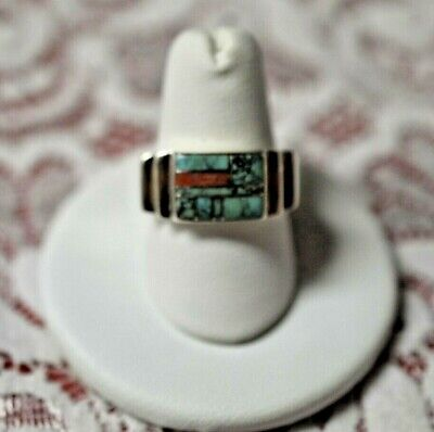 Old Pawn Sterling Turquoise & Coral Ring Size 8