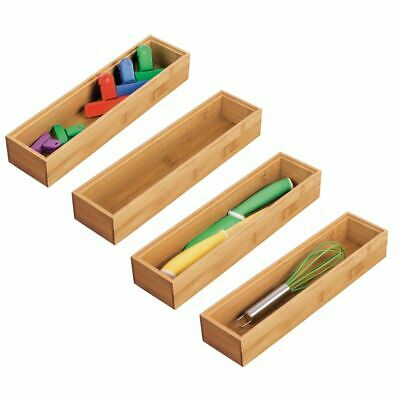 MDesign Bamboo Stackable Kitchen Drawer Organizer Tray