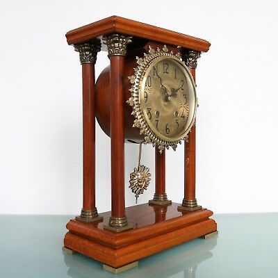 WARMINK Dutch Vintage Mantel CLOCK 12.4 INCH PILLAR TOP 2 Bell Chime HIGH GLOSS
