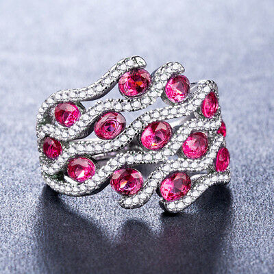 Fashion Women Wedding Rings 925 Silver Jewelry Round Cut Ruby Birthstone Size 9