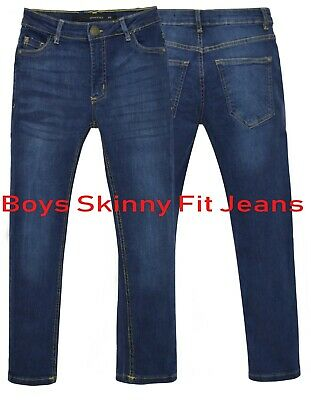 NEW Boys Kids Stretch Jeans Denim Skinny FIT Pants Trousers Age 7-13 Years BLUE