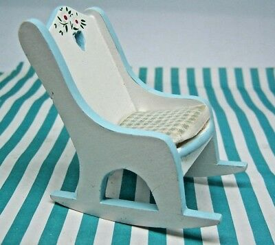 Dolls House, Rocking Chair, 12Th, Nursery, Wood, Gingham Seat, Floral, Blue