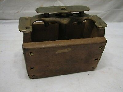 Antique Butter Pat Mold Stamp Farm Tool Unique Dairy Press Brass Wood
