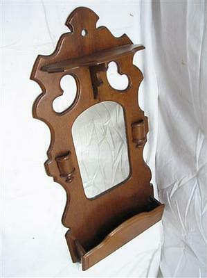 Ornate Folding Walnut Wooden Trinket Wall Shelf Match Safe Mirror Comb Pocket