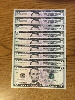 45 Consecutive 2013 Series $5 Star Dollar Note Uncirculated Brand New Crisp