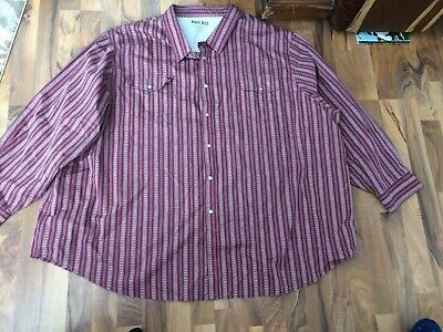 BIG MENSWESTERN CASUAL SHIRTBY KING SIZE SIZE 7XL Red Calico Print Pearl Snap
