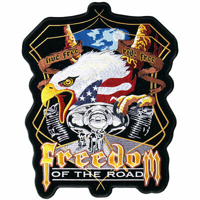 "Midnight Eagle ""Freedom of the Road""  9"" by 11"" patch Iron-on / Sewn-on"