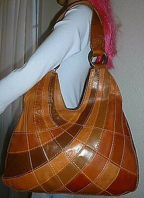 LUCKY BRAND Multi Color Brown Leather Patchwork Hobo Shoulder Bag Tote Purse 2d209ea434
