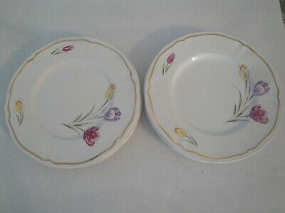 6 Assiettes A Dessert Faience Ceramique Longchamp Decor Tulipes