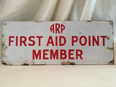 Vintage WW2 ARP First Aid Point /Air Raid Shelter Enamel Sign Home Front Interes