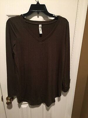 Zenana Premium Vneck Knit Shirt Top Olive Army Green Tunic Small S EUC