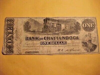 1863 $1 Confederate States Currency-One Dollar Bank of Chattanooga Jan 4th, 1863
