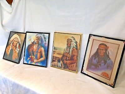 Lot de 4 cadres avec photo d'Indiens