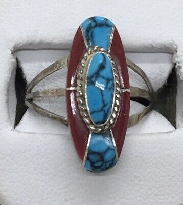 Sterling Silver Coral & Turquoise Inlay Ring, Signed Fred Maloney, Size 8
