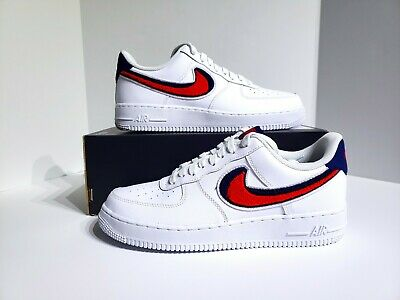 e5b39fb5ed3627 Nike Air Force 1 07 LV8 Chenille Swoosh White Red Blue 823511-106 Mens Size