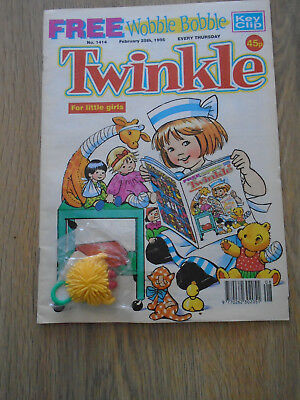 Twinkle Comic # 1414, Feb 25th 1995 with Free Gift Wobble Bobble Key Clip