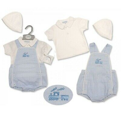 Baby Boys Spanish Style Smocked Embroidered Ducks Short Dungarees /& Top Outfit