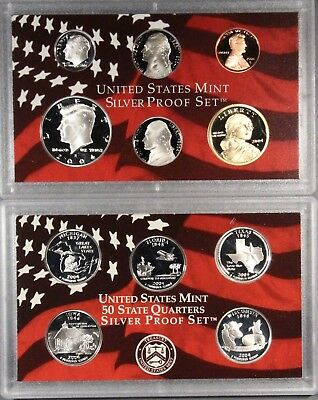 2004 US MINT SILVER PROOF SET  - Complete Set W/Box & COA SPS2004