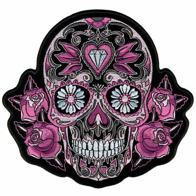 "PINK SUGAR SKULL and ROSES Patch 8"" wide by 8"" tall  Iron-on / Sewn-on"