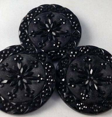 3x Large Vtg Antique Black Buttons Faceted Glass Lacy Flower Floral 32mm