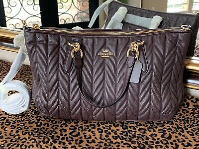 ec1739591742 COACH ALLY Quilted Satchel Bag Soft Lamb Leather In Oxblood NEW w  FREE  SHIPPING