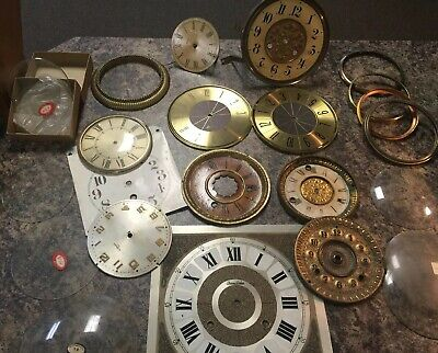 Vintage Elgin Seth Thomas Gilbert More Clock Parts Lot Face Dial Bezel Glass