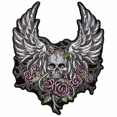 "SKULL WINGS and ROSES Patch 8"" wide by 10"" tall  Iron-on / Sewn-on"