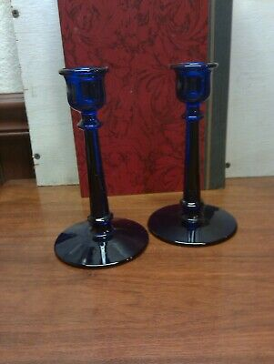 "Pair   6"" Cobalt Blue Glass Candlesticks Candle Holders"