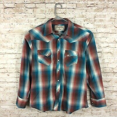 Wrancher By Wrangler Mens Large Red Plaid Pearl Snap Button Down Western Shirt