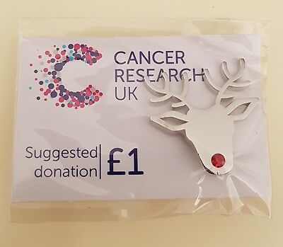 "Brand New & Sealed ""Cancer Research UK Reindeer Head"" Pin Badge(SAME DAY DSPCH)"