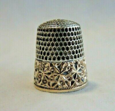 Antique Simons Sterling Silver Gold Band Sz 6 Thimble