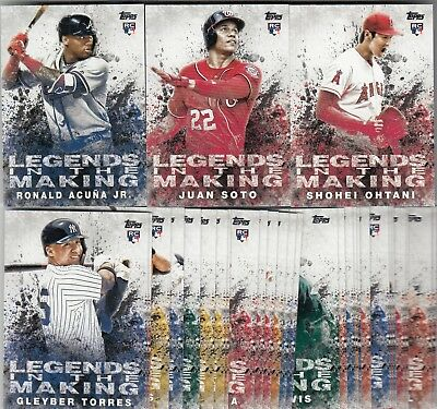 2018 Topps Update LEGENDS IN THE MAKING 30 CARD INSERT SET Juan Soto Ohtani